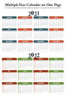 Multiple Year Calendar On One Page Presentation Report Infographic PPT PDF Document
