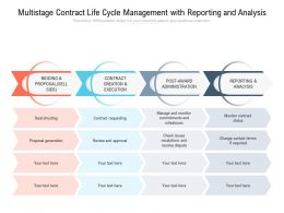 Multistage Contract Life Cycle Management With Reporting And Analysis