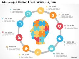 Multistaged Human Brain Puzzle Diagram Flat Powerpoint Design