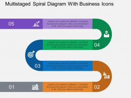 Multistaged Spiral Diagram With Business Icons Flat Powerpoint Design