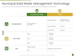 Municipal Solid Waste Management Technology Industrial Waste Management
