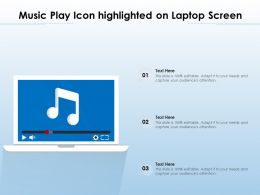 Music Play Icon Highlighted On Laptop Screen