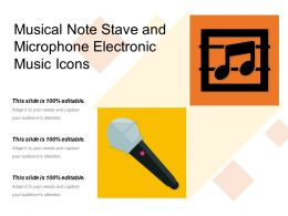 Musical Note Stave And Microphone Electronic Music Icons