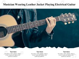 Musician Wearing Leather Jacket Playing Electrical Guitar