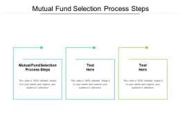 Mutual Fund Selection Process Steps Ppt Powerpoint Presentation Styles Vector Cpb