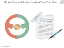 Mutually Beneficial Supplier Relations Powerpoint Show
