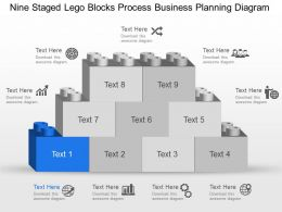 Mv Nine Staged Lego Blocks Process Business Planning Diagram Powerpoint Template Slide