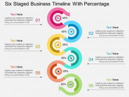 mv Six Staged Business Timeline With Percentage Flat Powerpoint Design