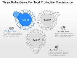 mv Three Bulbs Gears For Total Productive Maintenance Powerpoint Temptate