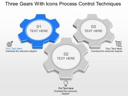 mv Three Gears With Icons Process Control Techniques Powerpoint Template