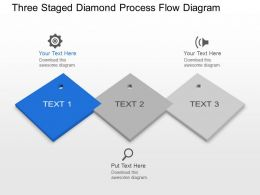Mv Three Staged Diamond Process Flow Diagram Powerpoint Template Slide