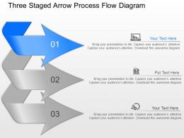 mw Three Staged Arrow Process Flow Diagram Powerpoint Template