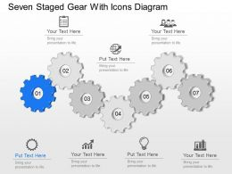 Mx Seven Staged Gear With Icons Diagram Powerpoint Template Slide