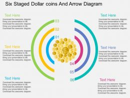mx Six Staged Dollar Coins And Arrow Diagram Flat Powerpoint Design