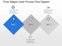 Mx Three Staged Linear Process Flow Diagram Powerpoint Template Slide