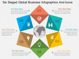my Six Staged Global Business Infographics And Icons Flat Powerpoint Design
