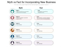 Myth Vs Fact For Incorporating New Business