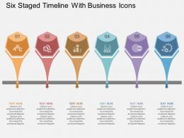 na Six Staged Timeline With Business Icons Flat Powerpoint Design