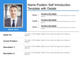 Name Position Self Introduction Template With Details