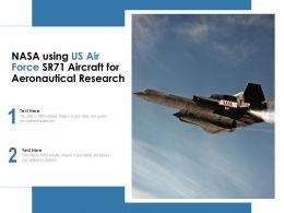 NASA Using US Air Force SR71 Aircraft For Aeronautical Research