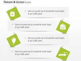 Nature Green Energy Icons For Car And Bulb Wiyh Recycle Symbol Editable Icons