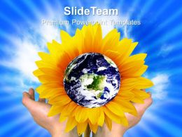 Nature Wallper Powerpoint Templates Earth With Flower Global Ppt Process