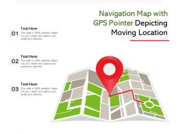 Navigation Map With GPS Pointer Depicting Moving Location