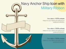 Navy Anchor Ship Icon With Military Ribbon