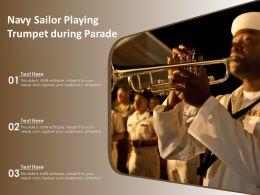Navy Sailor Playing Trumpet During Parade