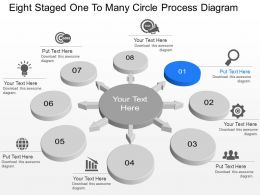 Nd Eight Staged One To Many Circle Process Diagram Powerpoint Template