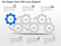 Nd Six Staged Gear With Icons Diagram Powerpoint Template Slide