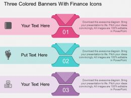 nd Three Colored Banners With Finance Icons Flat Powerpoint Design