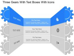 nd Three Gears With Text Boxes With Icons Powerpoint Temptate