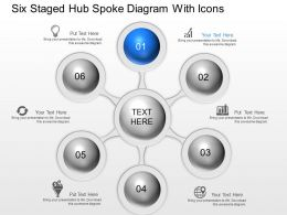 Ne Six Staged Hub Spoke Diagram With Icons Powerpoint Template Slide