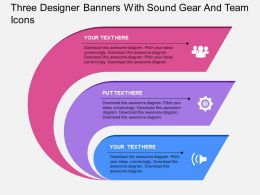 ne Three Designer Banners With Sound Gear And Team Icons Flat Powerpoint Design