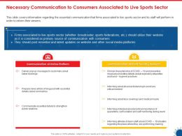 Necessary Communication To Consumers Associated To Live Sports Sector Ppt Topics
