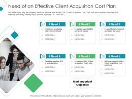 Need Of An Effective Client Acquisition Cost Plan Client Acquisition Costing For Acquiring Ppt Tips
