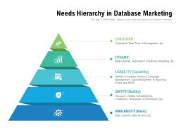 Needs Hierarchy In Database Marketing