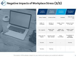 Negative Impacts Of Workplace Stress Emotional Ppt Powerpoint Presentation Show Diagrams