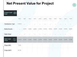 Net Present Value For Project Sales Value Powerpoint Presentation Slides