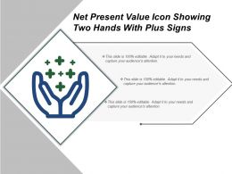 Net Present Value Icon Showing Two Hands With Plus Signs