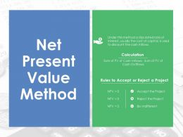 Net Present Value Method Ppt Sample