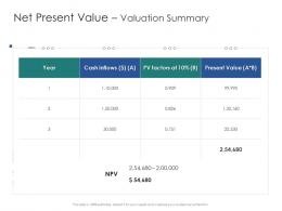 Net Present Value Valuation Summary Infrastructure Engineering Facility Management Ppt Professional