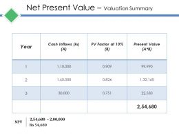 Net Present Value Valuation Summary Ppt Gallery