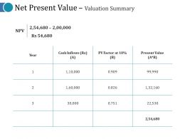 Net Present Value Valuation Summary Ppt Visuals