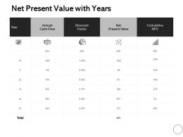 Net Present Value With Years Ppt Powerpoint Presentation Portfolio Templates
