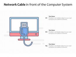 Network Cable In Front Of The Computer System