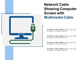 Network Cable Showing Computer Screen With Multimedia Cable