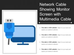 Network Cable Showing Monitor Screen With Multimedia Cable