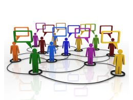 Network Of 3d People For Group Discussion Stock Photo